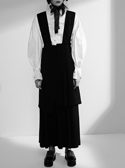 Solid Asymmetrical Sleeveless Pleated Statement Overall
