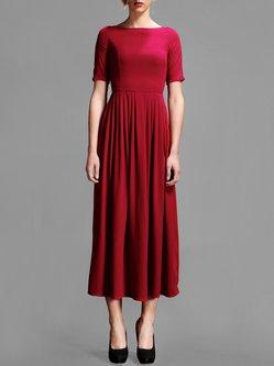 Wine Red Short Sleeve Plain Pleated Midi Dress