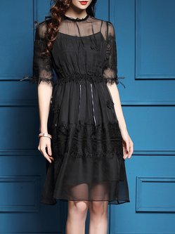 Black Mesh Paneled Half Sleeve A-line Midi Dress