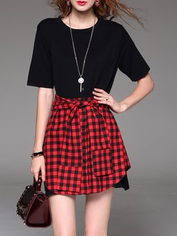 Red Paneled Checkered/Plaid Casual Cotton Mini Dress