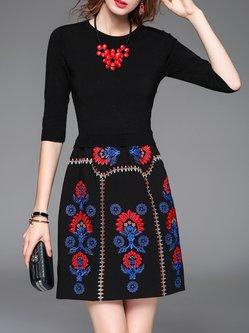 Black Floral Vintage Embroidered Mini Dress