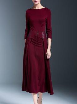 A-line Half Sleeve Elegant Paneled Midi Dress