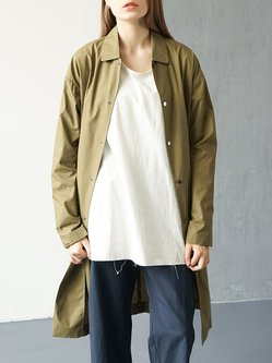 Army Green Plain Casual Cotton Trench Coat