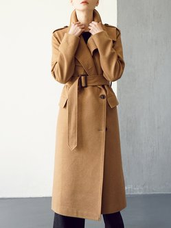 Camel Long Sleeve Wool Blend Simple Plain Coat