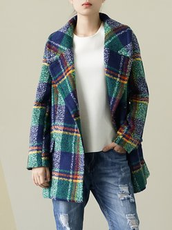 Green Plaid H-line Lapel Casual Coat