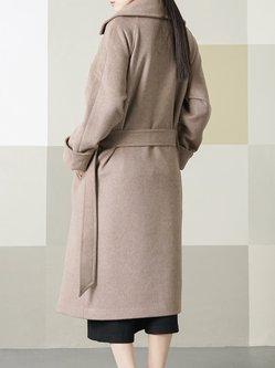 Camel Plain Pockets Casual Wool Blend Coat