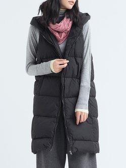 Sleeveless Zipper Casual Hoodie Down Coat