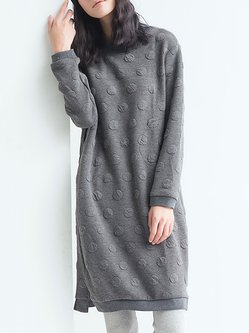 Gray Long Sleeve Plain Cocoon Midi Dress