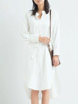 White Slit Plain Midi Dress with Belt