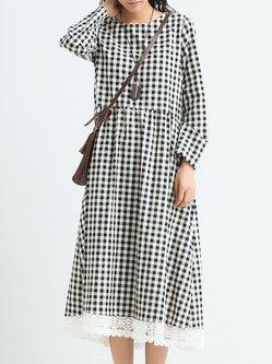 White Checkered/Plaid Long Sleeve A-line Midi Dress