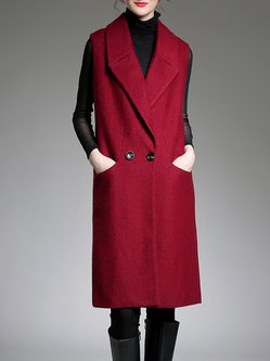 Wine Red Pockets Sleeveless H-line Vest