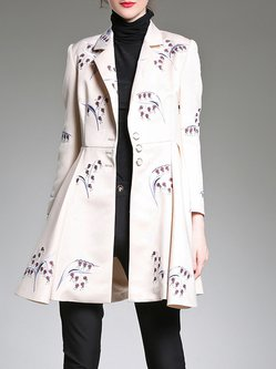 Apricot Polyester Embroidered Elegant Coat