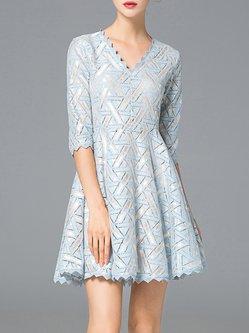 Light Blue Elegant V Neck Mini Dress