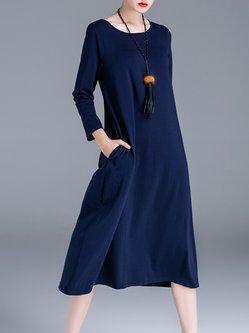 Elegant A-line Crew Neck Plain 3/4 Sleeve Midi Dress