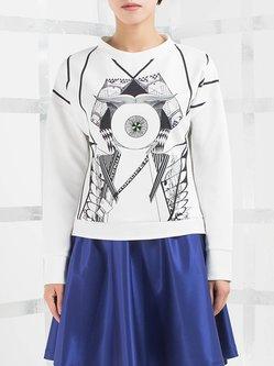 White H-line Long Sleeve Printed Sweatshirt