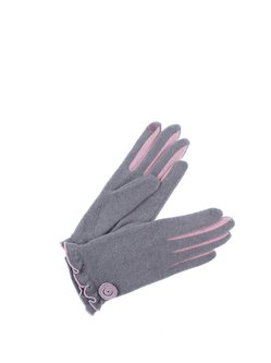 Gray Floral-embroidered Ruffled Wool Blend Casual Gloves