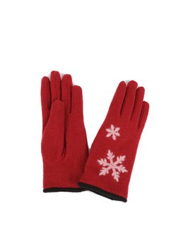 Floral Jacquard Wool Blend Gloves