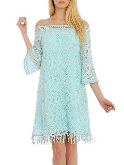 Light Green Off Shoulder Polyester Sweet Mini Dress