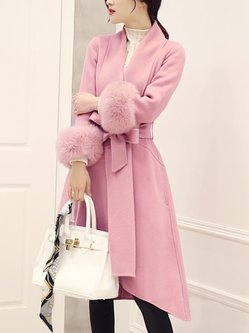 High Low Long Sleeve Casual Fluffy Fur And Shearling Coat