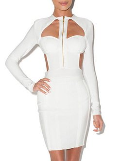 Long Sleeve Bodycon Sexy Cutout Bandage Dress