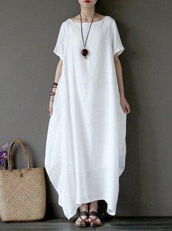 White Bateau/boat Neck Short Sleeve Linen Dress
