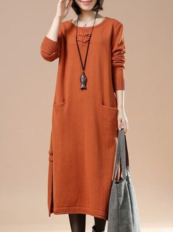 Casual Knitted Long Sleeve Crew Neck Linen Dress