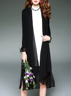 Asymmetric Long Sleeve Solid Coat
