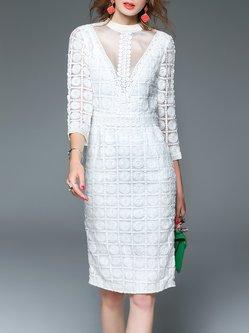 White Paneled Sheath Elegant Midi Dress