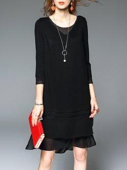 Black Asymmetric 3/4 Sleeve Two Piece Midi Dress