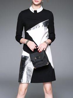 Black H-line 3/4 Sleeve Color-block Midi Dress