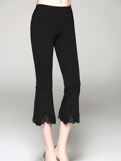 Black Cotton-blend Casual Guipure Paneled Flared Pant