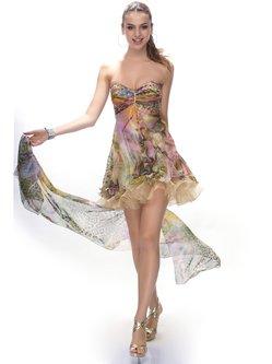 Yellow Abstract Chiffon Elegant Strapless Mini Dress