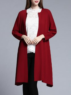 Wine Red Casual H-line Ribbed Cardigan