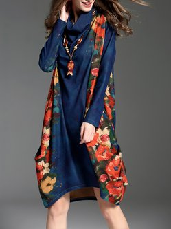 Risultati immagini per stylewe holiday dresses / GYALWANA Dark Blue Turtleneck Vintage Printed H-line Midi Dress