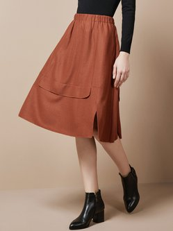 A-line Plain Wool Slit Casual Midi Skirt