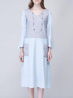 Light Blue Pockets Plain Girly V Neck Polyester Midi Dress