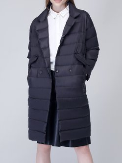 Cocoon Lapel Simple Long Sleeve Pockets Down Coat