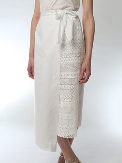 White Asymmetrical Paneled Elegant Plus Size Midi Skirt