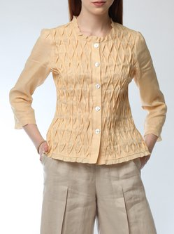 Apricot Ribbed Elegant Linen Crew Neck Plus Size Blouse