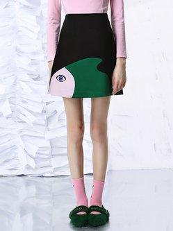 Black Casual A-line Color-block Mini Skirt