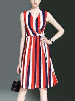 Casual Sleeveless Stripes A-line V Neck Midi Dress