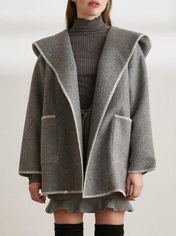 Long Sleeve Binding Hoodie Casual Coat