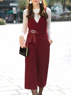 Crimson Spaghetti Bow V Neck Solid Jumpsuit