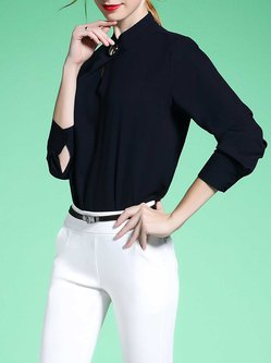 7d935dab0f60a9 Simple Long Sleeve Folds Solid Stand Collar Blouse