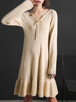 Beige Long Sleeve Knitted Ruffled Plain Casual Midi Dress
