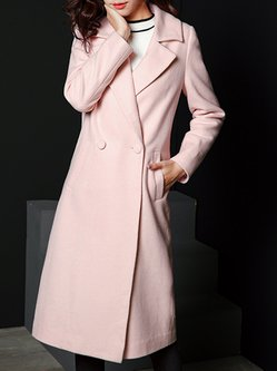 Pink Plain Wool Blend Simple Pockets Lapel Coat