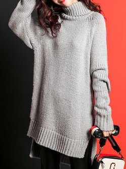 Coffee Knitted Long Sleeve Turtleneck Asymmetric Sweater