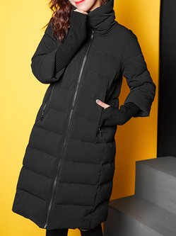 Black Polyester Turtleneck Casual Plain Pockets Down Coat