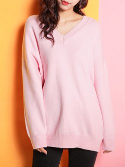 Pink Shift V Neck Knitted Long Sleeve Sweater