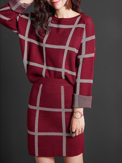 Wine Red Two Piece Knitted Long Sleeve Mini Dress